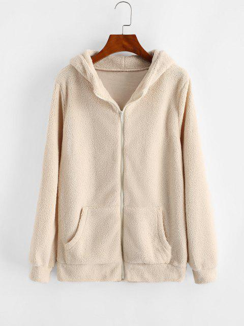 Hooded Zip Up Faux Shearling Pockets Coat - ضوء الكاكي M Mobile