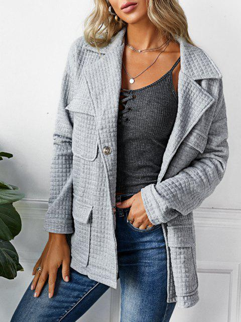 ZAFUL Snap Button Lapel Textured Cargo Jacket - رمادي فاتح S Mobile