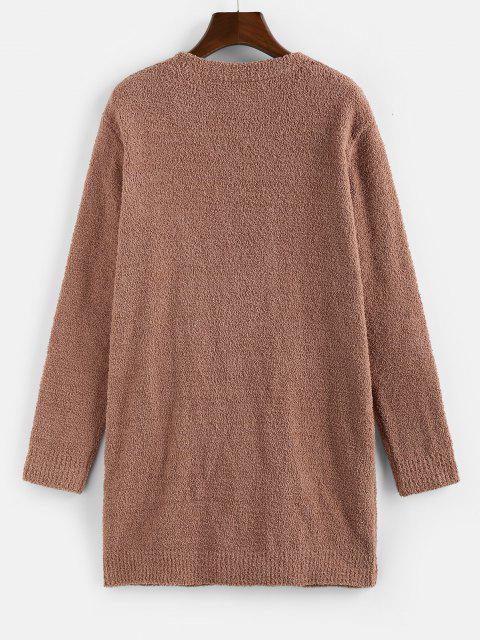 fashion ZAFUL Open Front Plain Longline Cardigan - COFFEE M Mobile