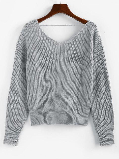 trendy ZAFUL Twisted Plunging Drop Shoulder Sweater - GRAY L Mobile