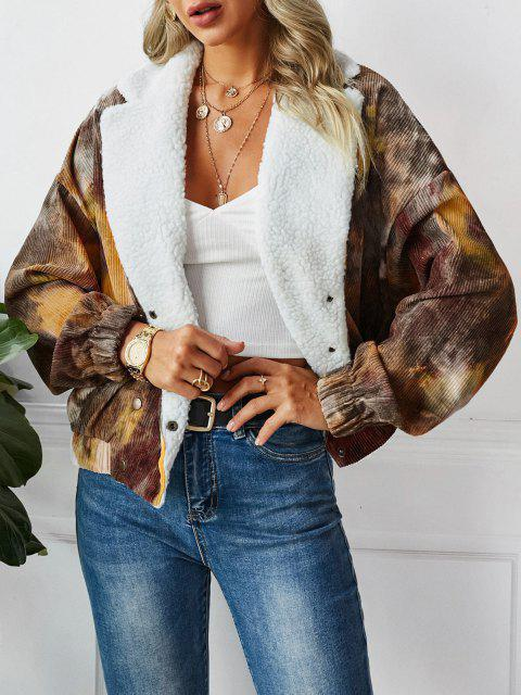 ZAFUL Faux Fur Tie Dye Corduroy Jacket - خردل M Mobile