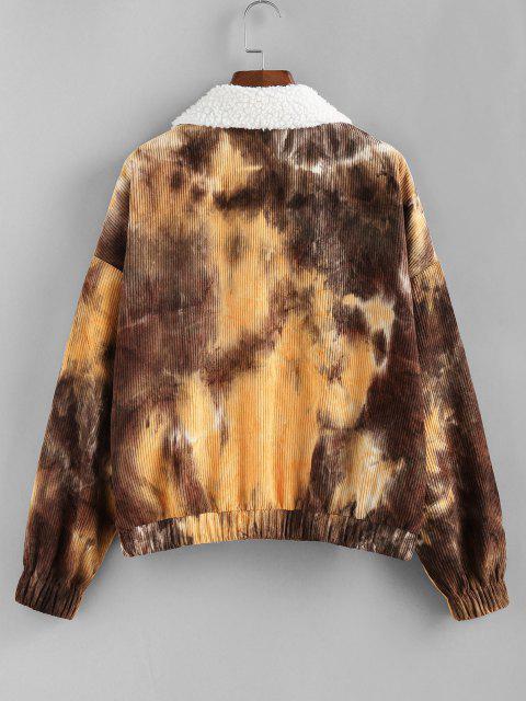 latest ZAFUL Faux Fur Tie Dye Corduroy Jacket - MUSTARD M Mobile