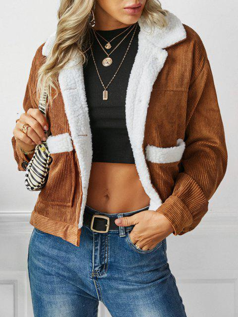 unique ZAFUL Shearling Lined Corduroy Jacket - CARAMEL M Mobile
