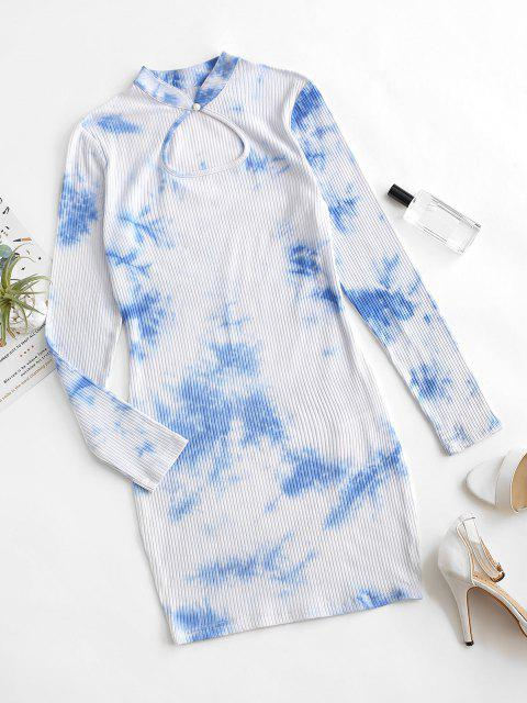 affordable ZAFUL Keyhole Tie Dye Ribbed Bodycon Dress - BABY BLUE M Mobile