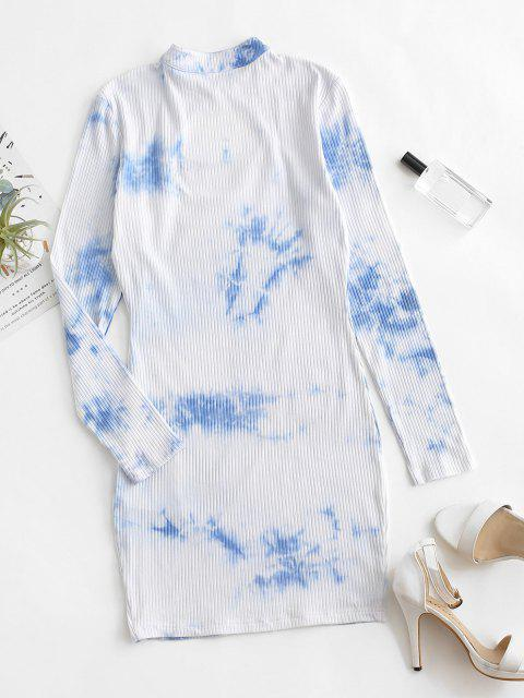 lady ZAFUL Keyhole Tie Dye Ribbed Bodycon Dress - BABY BLUE XL Mobile