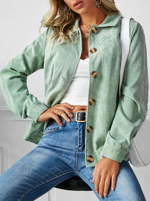 unique ZAFUL Ribbed Buttons Corduroy Jacket - LIGHT GREEN XL Mobile