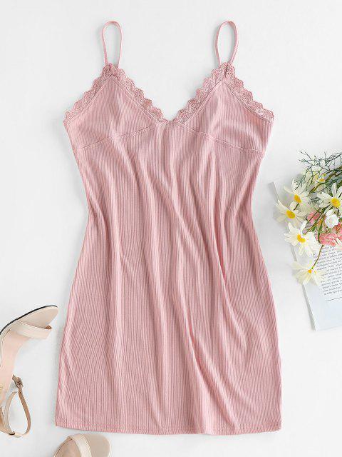 ZAFUL Bodycon Geripptes Cami Kleid mit Spitzenbesatz - Hell-Pink M Mobile