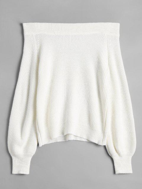 shop Off The Shoulder Lantern Sleeve Pullover Sweater - WHITE ONE SIZE Mobile