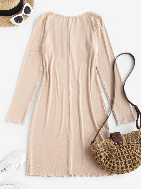 lady Long Sleeve Drawstring Collar Ribbed Mini Dress - LIGHT COFFEE L Mobile