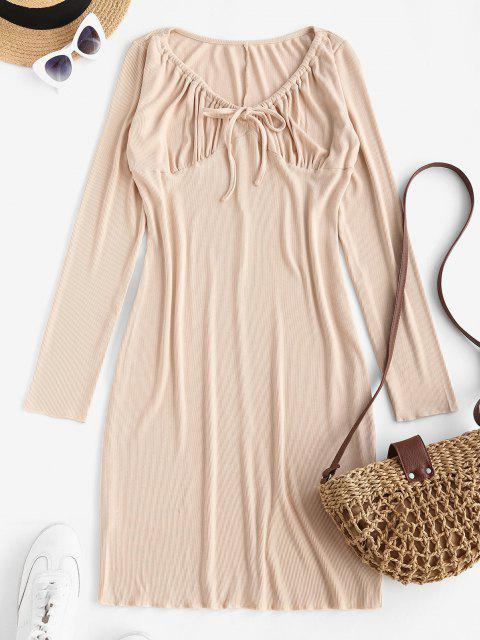 ladies Long Sleeve Drawstring Collar Ribbed Mini Dress - LIGHT COFFEE XL Mobile