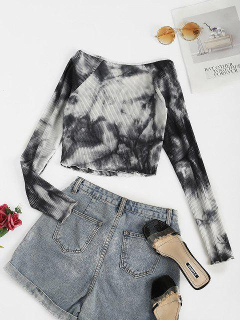 outfit ZAFUL Ribbed Tie Dye Ruched Bust Crop T-shirt - MULTI-A XL Mobile