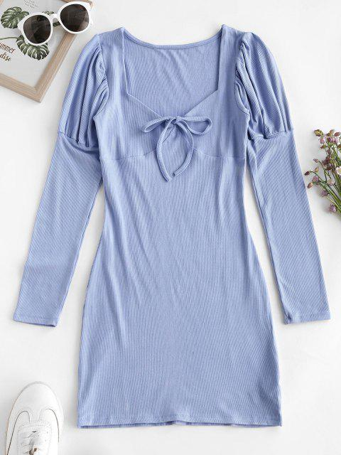 shop Ribbed Puff Sleeve Tie Collar Bodycon Dress - SKY BLUE S Mobile
