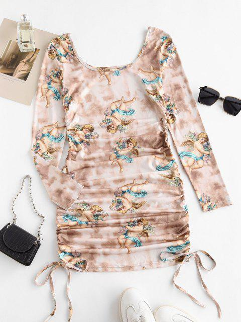 women ZAFUL Tie Dye Renaissance Angel Print Ruched Bodycon Dress - LIGHT COFFEE L Mobile