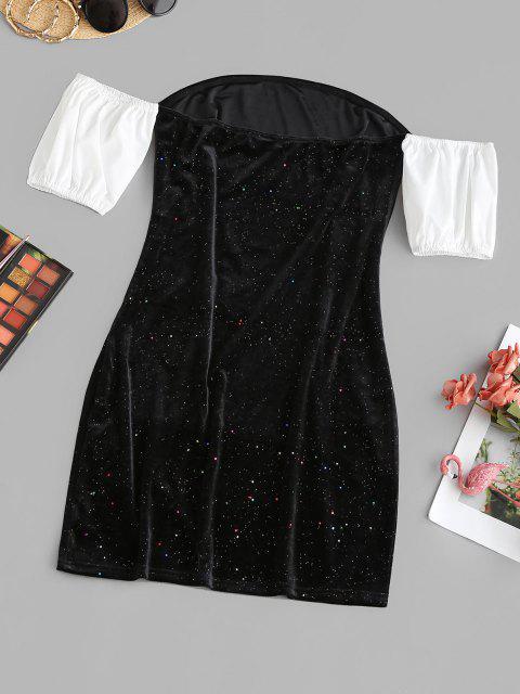 trendy ZAFUL Sparkly Confetti Velvet Off Shoulder Colorblock Dress - BLACK M Mobile