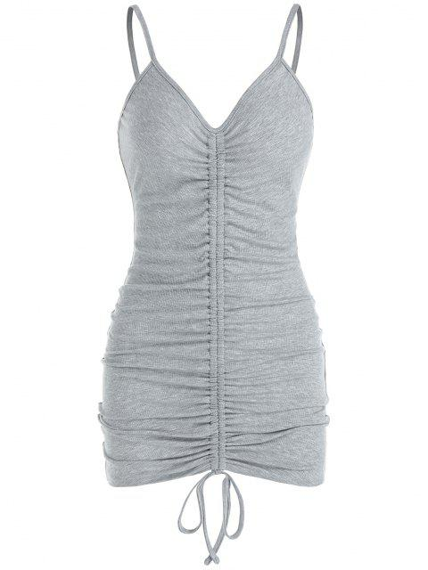 trendy ZAFUL Ribbed Cinched Bodycon Dress - ASH GRAY L Mobile