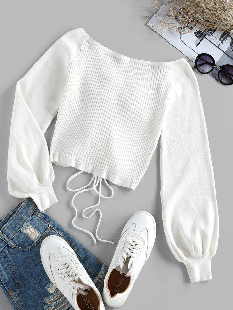 shop ZAFUL Ribbed Cinched Raglan Sleeve Jumper Sweater - WHITE XL Mobile