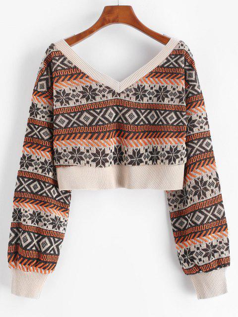 クロップセーターを胸元ZAFULドロップショルダー - コーヒー L Mobile