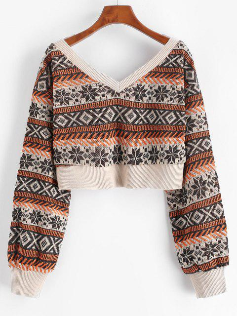 outfits ZAFUL Drop Shoulder Plunging Crop Sweater - COFFEE XL Mobile