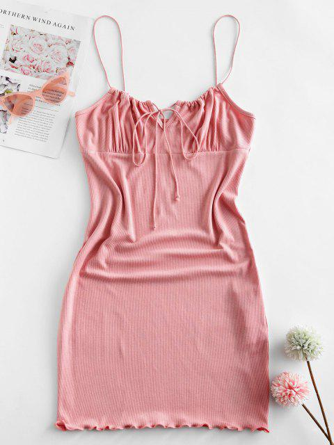 outfit ZAFUL Ribbed Lettuce Tie Cami Mini Dress - PINK S Mobile