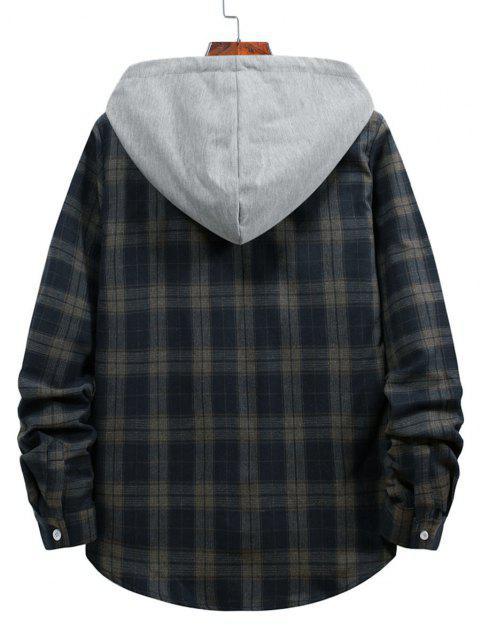 affordable Plaid Print Hooded Drawstring Shirt - CADETBLUE L Mobile