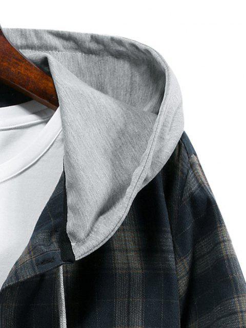 sale Plaid Print Hooded Drawstring Shirt - CADETBLUE M Mobile