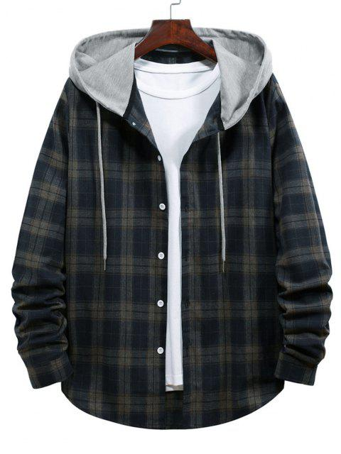 チェック柄の印刷フード付きドローストリングシャツ - カデブルー S Mobile