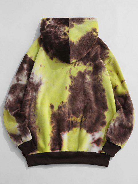 trendy ZAFUL Tokyo Embroidery Tie Dye Fleece Hoodie - YELLOW S Mobile