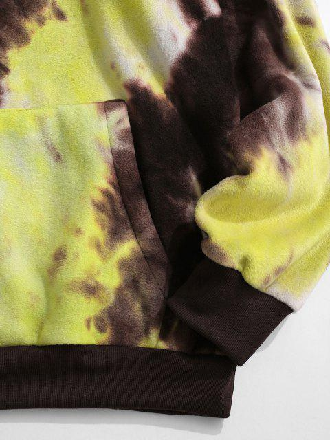 outfits ZAFUL Tokyo Embroidery Tie Dye Fleece Hoodie - YELLOW M Mobile