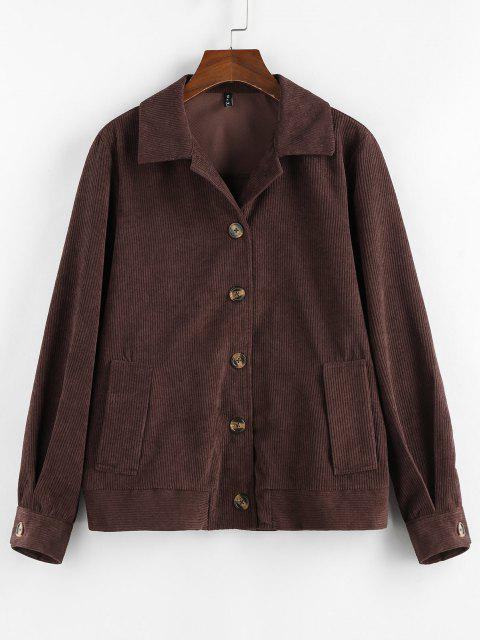 ZAFUL Ribbed Buttons Corduroy Jacket - القهوة العميقة M Mobile