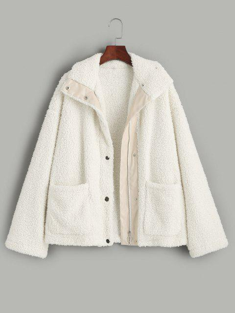 ZAFUL Faux Shearling Snap Button Zip Teddy Coat - ضوء الكاكي M Mobile