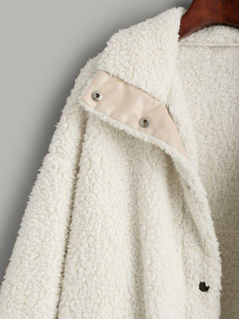 ladies ZAFUL Faux Shearling Snap Button Zip Teddy Coat - LIGHT KHAKI S Mobile