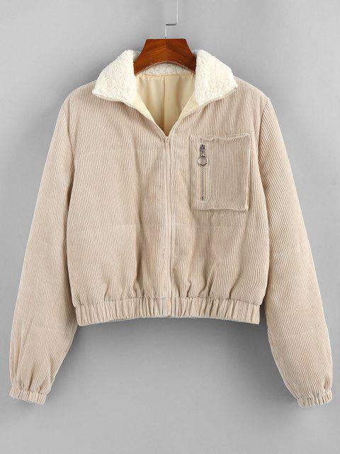 ZAFUL Zip Corduroy Teddy Collar Pocket Coat - القهوة الخفيفة L Mobile