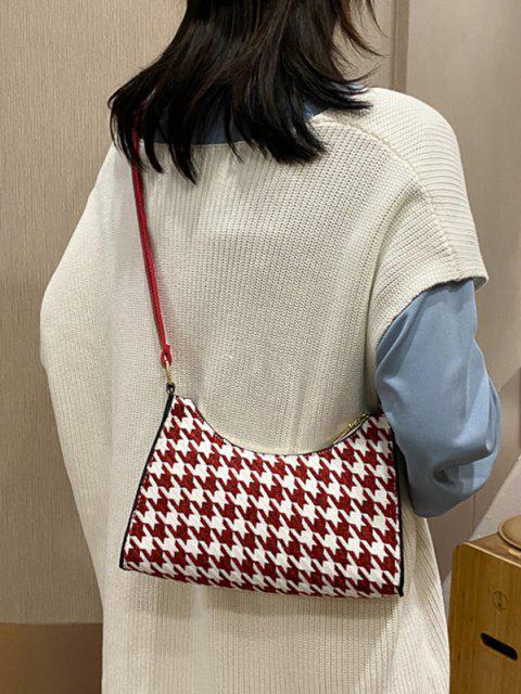 best Houndstooth Colorblock Shoulder Bag - DEEP RED  Mobile