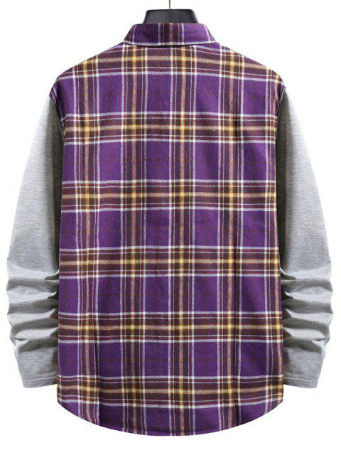 women Plaid Print Button Up Casual Shirt - PURPLE XL Mobile