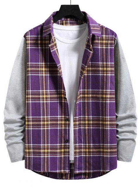 カジュアルシャツアップチェック柄プリントボタン - 紫の XL Mobile