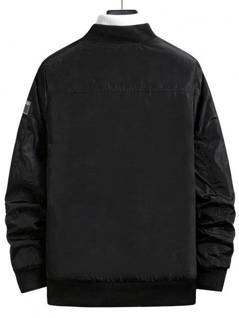 online Zip Up Embroidered Letter Applique Padded Jacket - BLACK XS Mobile