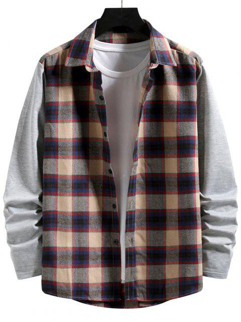 Plaid Print Button Up Casual Shirt - ضوء الكاكي L Mobile