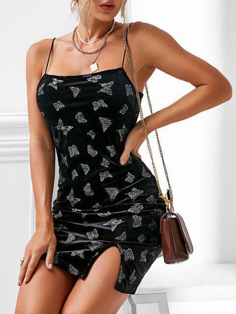 Vestito in Velluto Floreale a Farfalla con Spacco di ZAFUL - Nero XL Mobile