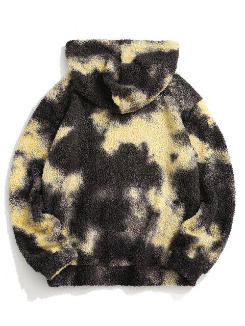 chic Tie Dye Patched Teddy Hoodie - GRAY S Mobile