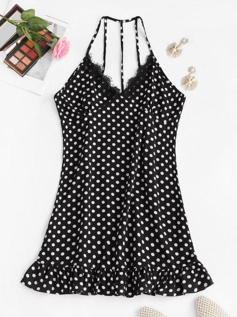 outfits Polka Dot Eyelash Lace Trim Strappy Back Nightdress - BLACK M Mobile