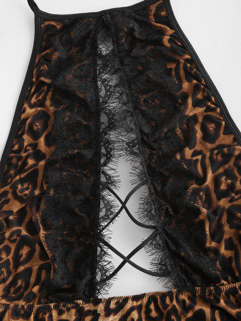 affordable Halter Lace Trim Leopard Crisscross Cutout Teddy - COFFEE S Mobile