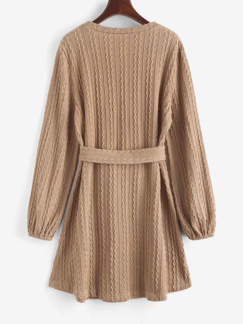 women Long Sleeve Cable Knit Belted Sweater Dress - LIGHT COFFEE L Mobile