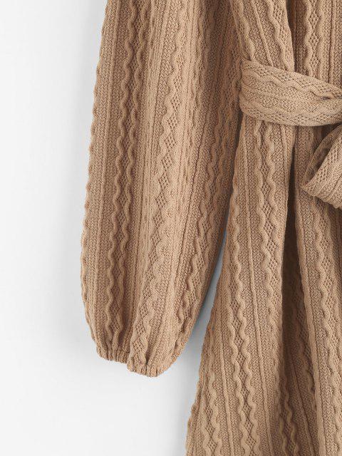 Robe Pull Ceinturée en Tricot à Câble à Manches Longues - café lumière XL Mobile