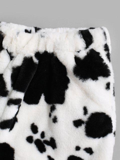 Pantalones Esponjoso con Estampado de Vaca - Negro L Mobile