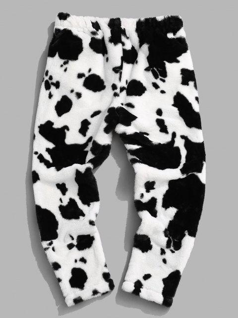 Pantalones Esponjoso con Estampado de Vaca - Negro XL Mobile