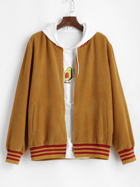 Corduroy Stripes Print Jacket - اصفر غامق L Mobile