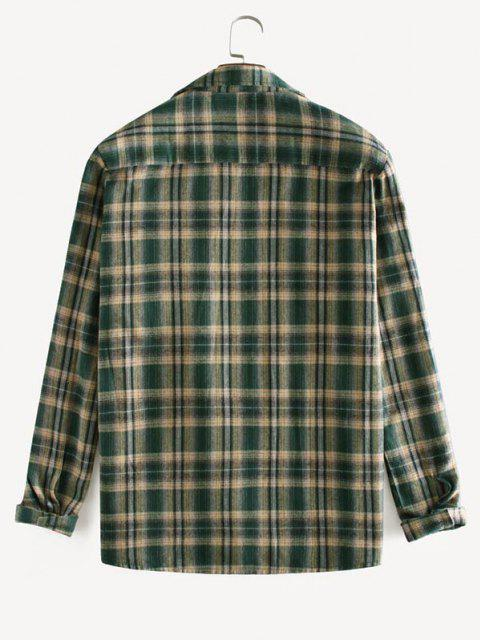 チェック柄プリント長袖ポケットシャツ - 深緑 M Mobile