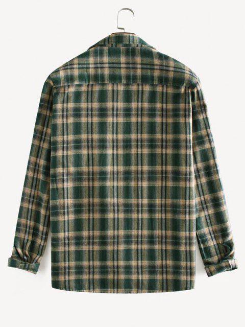 fashion Plaid Printed Long Sleeve Pocket Shirt - DEEP GREEN XL Mobile