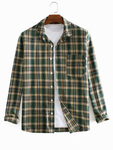 Plaid Printed Long Sleeve Pocket Shirt - ديب غرين XL Mobile