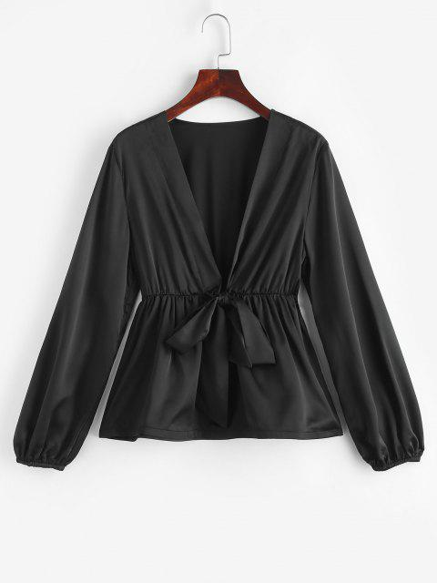 unique ZAFUL Tie Front Silky Peplum Hem Blouse - BLACK M Mobile